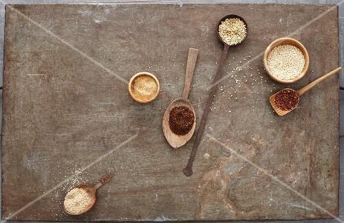 Various types of seeds for making vegan food