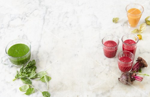 Superfoods: three different fruit and vegetable smoothies