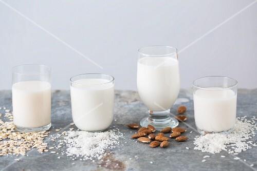 Various types of vegan milks in glasses with their ingredients (oat milk, coconut milk, almond milk and rice milk)
