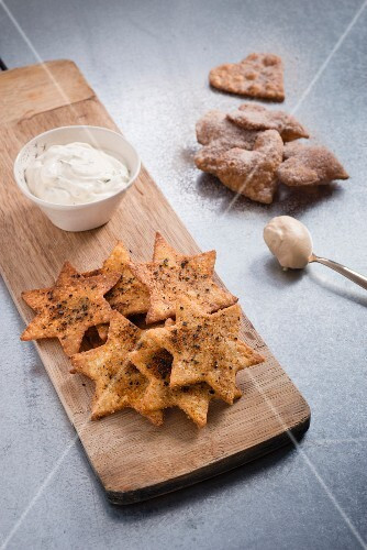 Tortilla stars and hearts with a sour cream dip