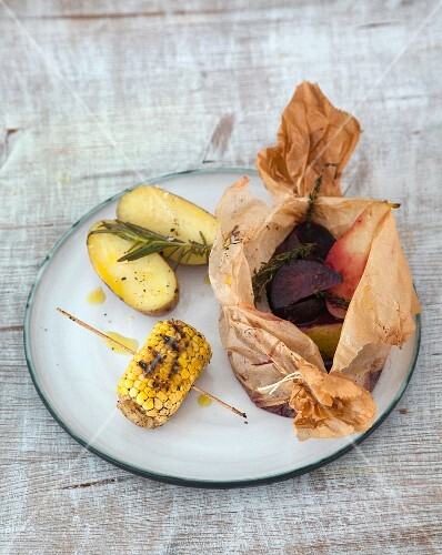 A grilled beetroot parcel with pears and sweetcorn