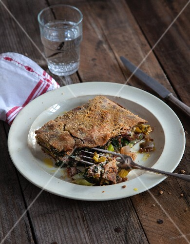Vegan chard and leek lasagne with beetroot