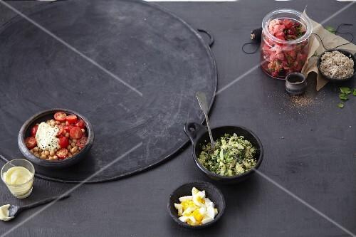 Chickpea salad, pickled vegetables and kale salad (superfood)