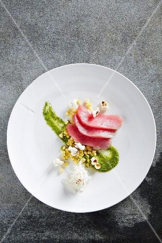 Tuna fish sashimi with sweetcorn salsa and green sauce