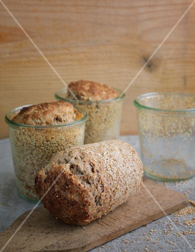 Seeded potato bread baked in jars