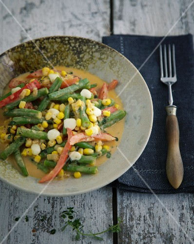 Colourful fried vegetables with sweetcorn