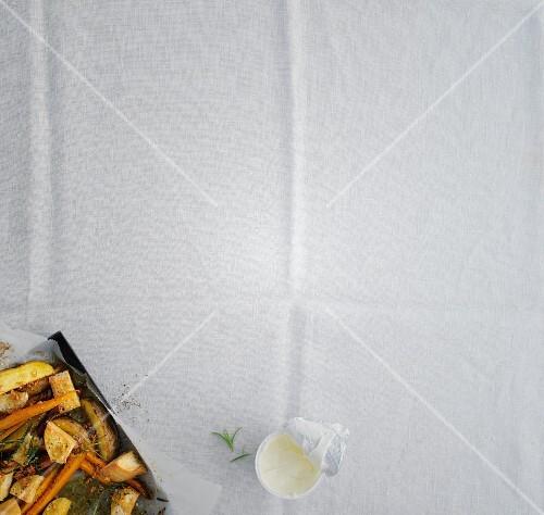Oven-roasted vegetables with crème fraîche