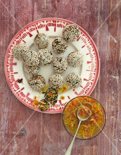 Vegan kale and sesame seed balls with a chilli dip from Asia