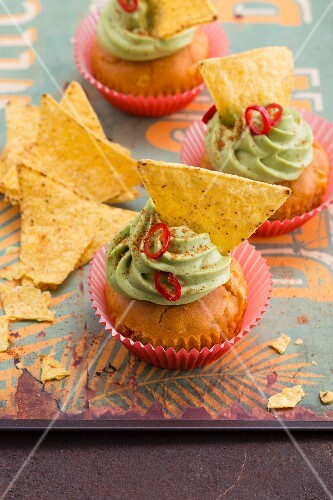 Sweetcorn and pepper cupcakes with a guacamole topping