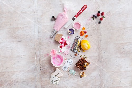 Sweet toppings and decorations for cupcakes
