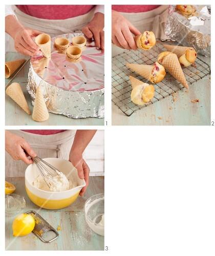 Redcurrant cupcakes baked in ice cream cones