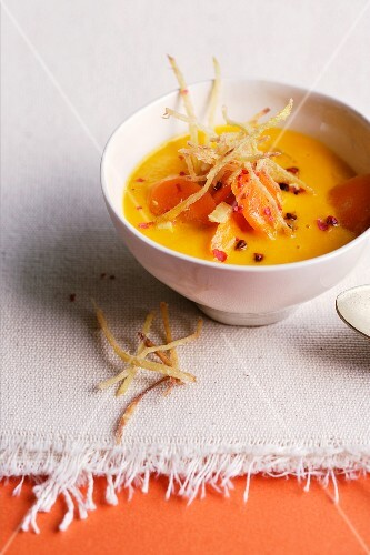 Carrot and ginger soup with ginger straw