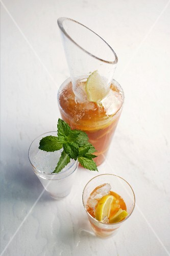 Homemade lemon iced tea with fresh ginger