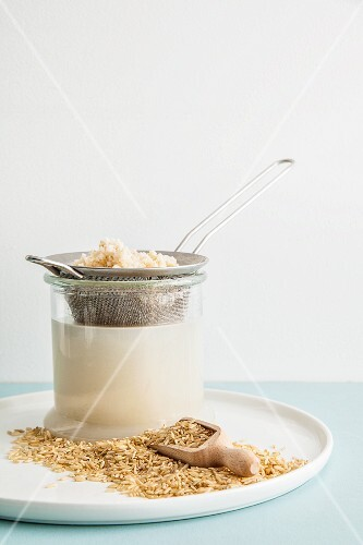 Homemade rice milk with brown rice