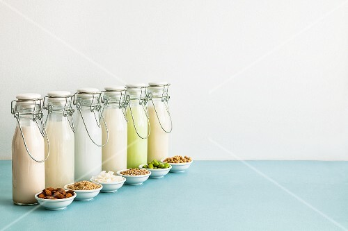 Various types of milk substitutes in bottles with their ingredients: almond milk, rice milk, coconut milk, oat milk, Edamame milk and soya milk