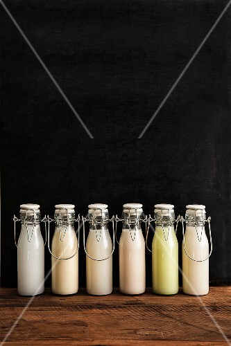 Various types of milk substitutes in bottles with their ingredients: coconut milk, soya milk, rice milk, almond milk, Edamame milk, oat milk