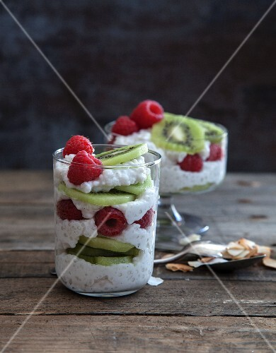 Coconut tapioca layered with kiwis and strawberries