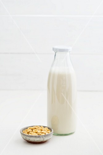 Soya milk in a glass bottle
