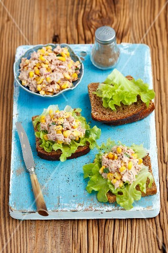 Wholemeal bread with tuna and sweetcorn paste