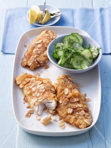 Rosefish fillets with an egg and almond crust