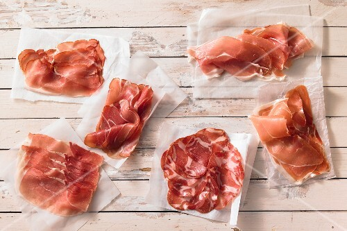 A selection of raw hams