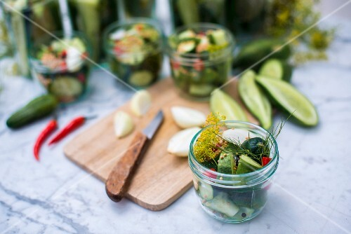 A jar of homemade gherkins