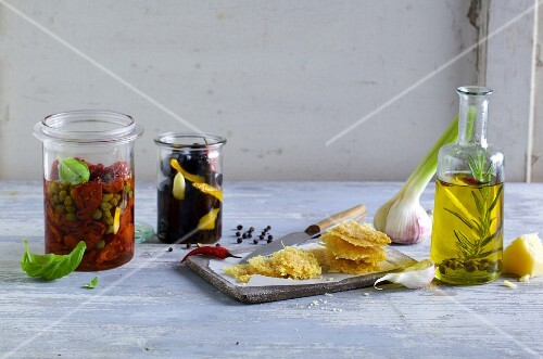 An Italian arrangement of pickled vegetables and rosemary oil