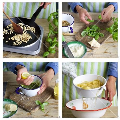 Basil pesto being made