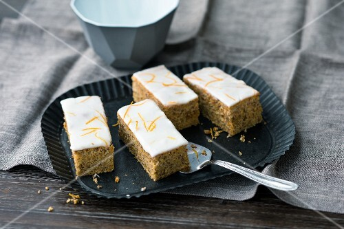 Swiss carrot cake slices with walnuts