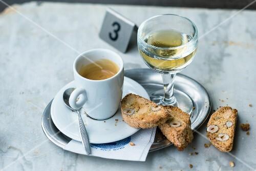 Italian cantuccini with espresso