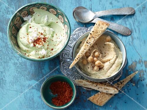 Hummus and yoghurt cream