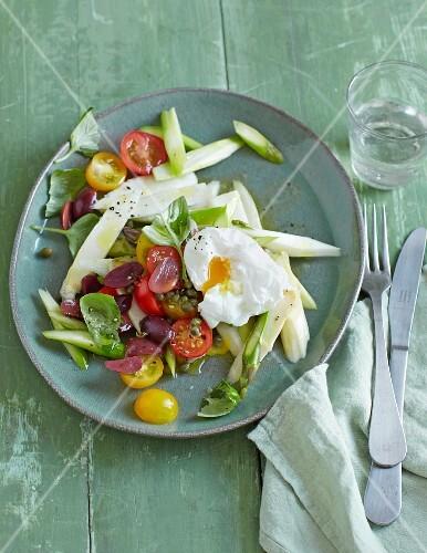 Italian asparagus salad with poached egg