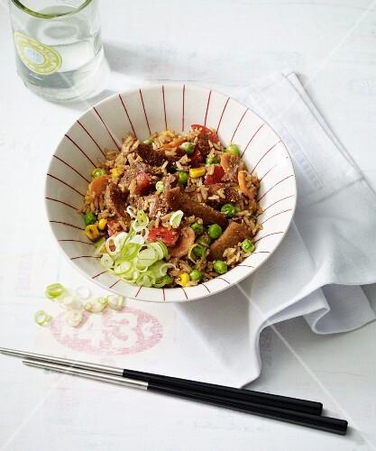 Stir-fried seitan nasi goreng