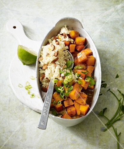Stir-fried vegan pumpkin with almond couscous