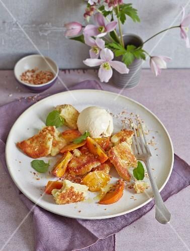 Shredded semolina pancakes with glazed sharon fruit and vanilla ice cream