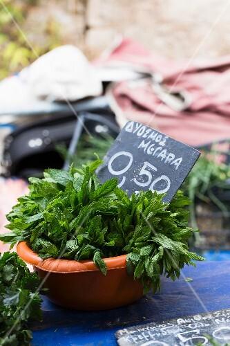 Fresh peppermint at a market (Greece)