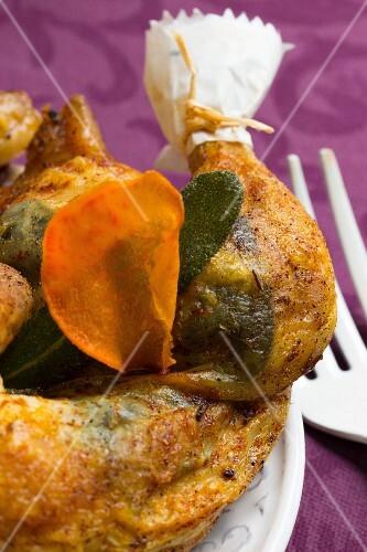 Sage chicken with sweet potato crisps