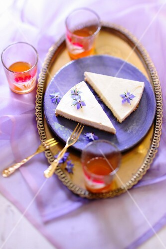 Cheesecake with borage flowers