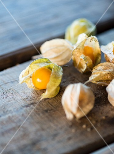 Physalis on a wooden surface