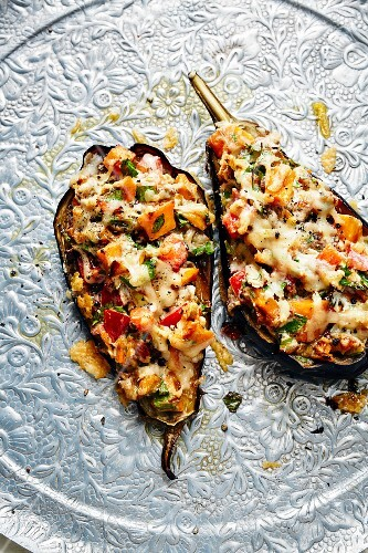 Aubergines with a sweet potato and goat's cheese stuffing (Turkey)