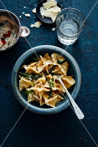 Vegetarian manti in sage butter (Turkey)