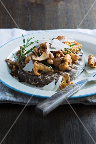 Toast topped with chanterelle mushrooms, Parmesan cheese and rosemary