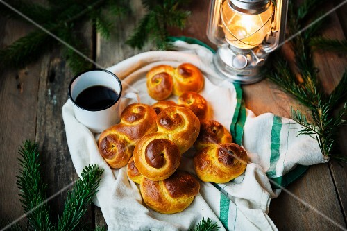 Classical Swedish saffron buns with raisins