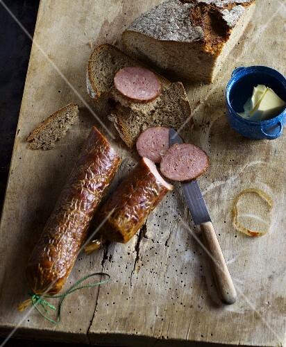 Homemade boiled sausage