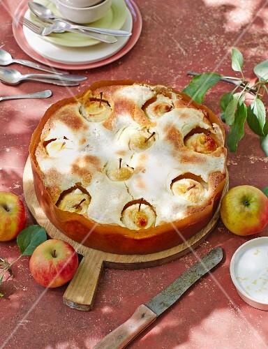 Sunken apple cake with a sour cream glaze
