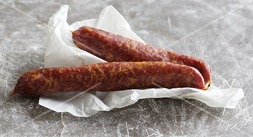 Homemade Bauernseufzer (smoked air-dried sausage)