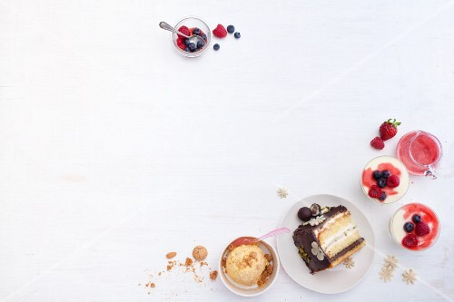 Desserts, cake and ice cream (seen from above)