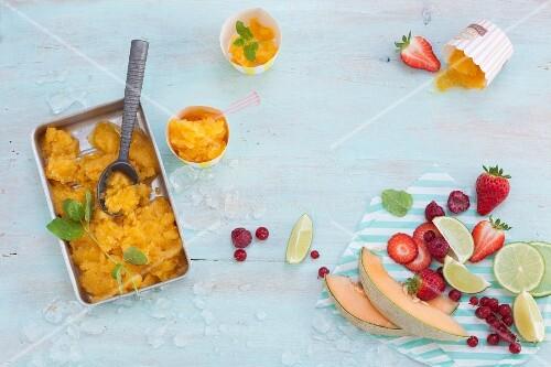 An arrangement of fruit granita and fresh fruit