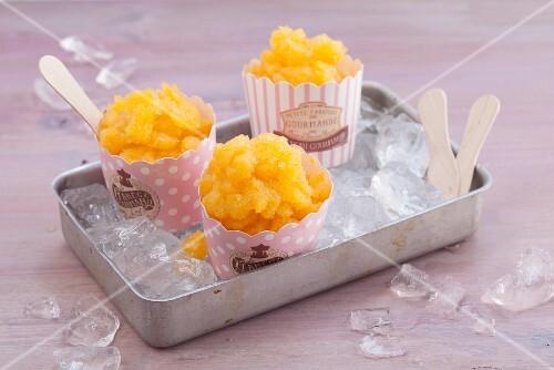 Peach granita with peach liqueur