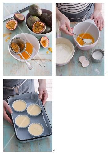 Passionfruit crème brûlée being made